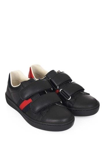 GUCCI Black Leather Velcro Strap Trainers