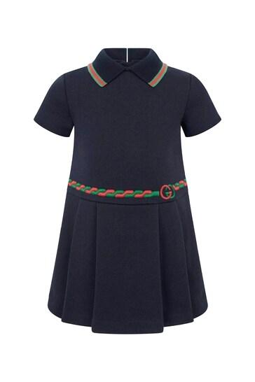 아기 소녀 해군 코튼 폴로 드레스
