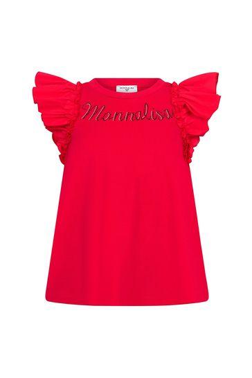 Girls Red Cotton T-Shirt