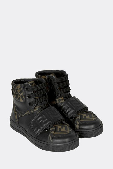 Kids Black Leather Trainers
