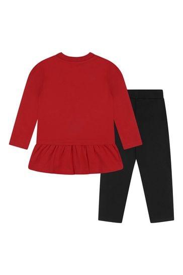 Baby Girls Red/Black Cotton Leggings Set