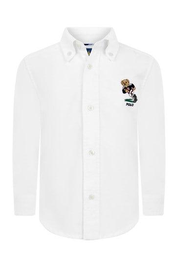 Boys White Cotton Bear Oxford Shirt