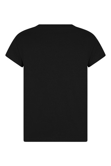 걸스 블랙 코튼 로고 티셔츠