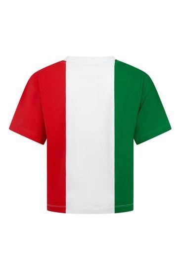 보이즈 레드 코튼 티셔츠