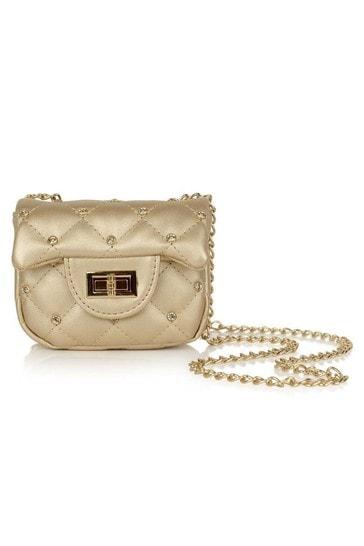 Girls Gold Studded Shoulder Bag