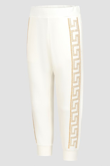 Girls Ivory & Gold Cotton Joggers