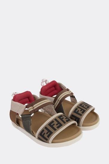 Kids Beige Leather Sandals