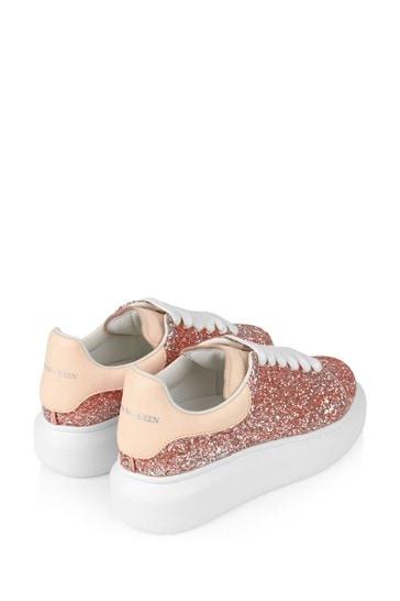 Girls Pink Glitter Trainers