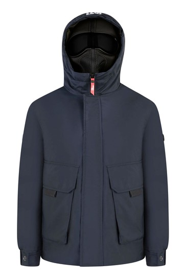 Boys Navy Down Padded Jacket With Detachable Neoprene Face Covering