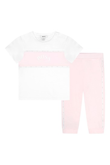 BOSS Baby Girls White Cotton Set
