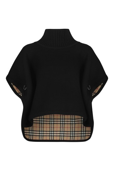 Girls Black Wool Poncho