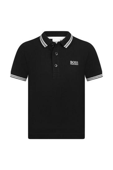 BOSS 보이즈 블랙 코튼 폴로셔츠