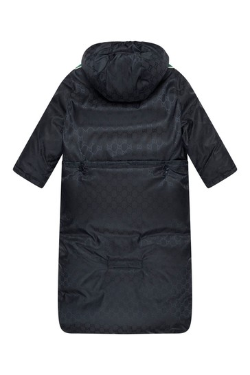 Baby Boys Navy Jacquard Trims Jacket with Sleep Bag Attachment