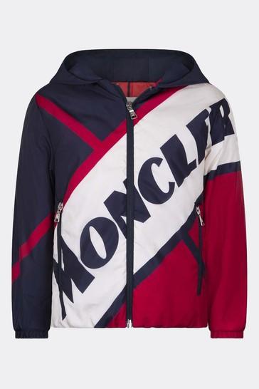 Boys Navy & Red Logo Jacket
