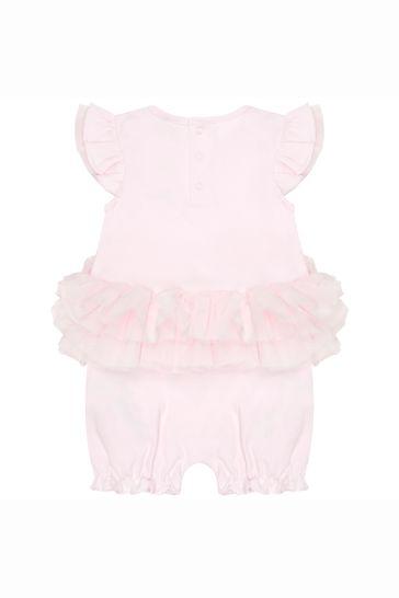 Baby Girls Pink Cotton Shortie Romper