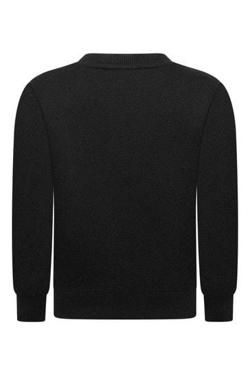 걸스 블랙 코튼 로고 스웨터