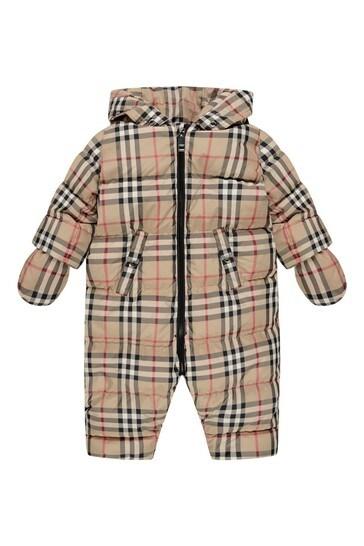 Baby Beige Vintage Check Snowsuit