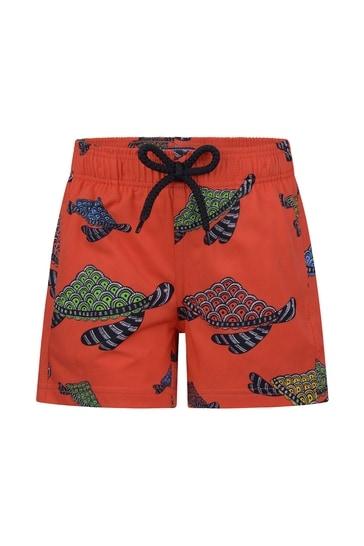 Boys Red Turtles Swim Shorts
