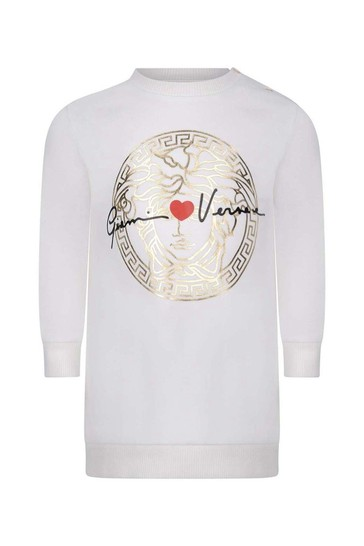 Baby Girls White Cotton Sweater Dress