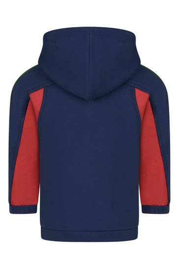 Baby Boys Navy Cotton Nylon Details Hooded Zip Up Top