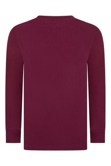 Boys Burgundy Long Sleeve Jersey T-Shirt