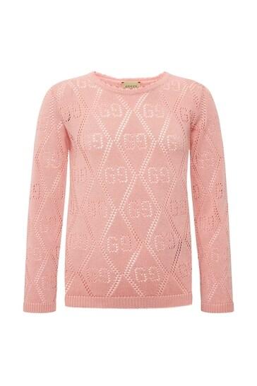 Girls Pink Cotton Jumper