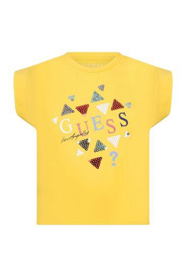 걸스 옐로우 코튼 티셔츠
