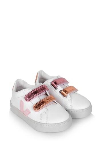 Girls White And Pink Esplar Velcro