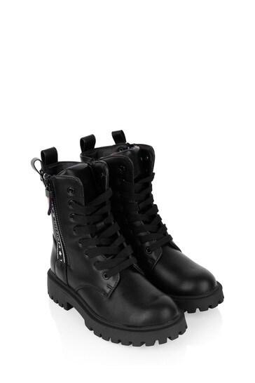 أطفال أسود الدانتيل متابعة الأحذية