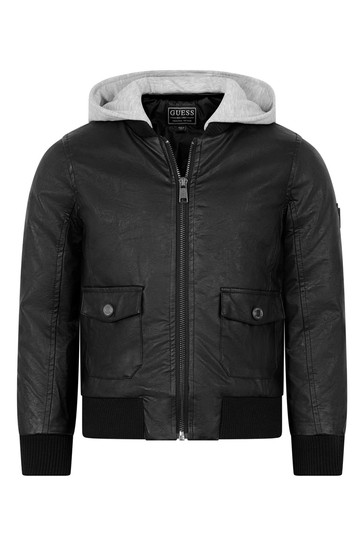 Boys Black Faux Leather Hooded Jacket