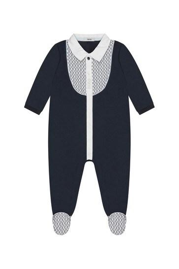 Baby Boys Navy Cotton Babygrow