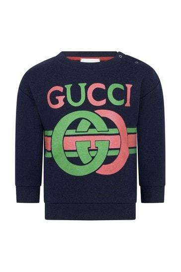 Baby Navy Cotton GG Sweater