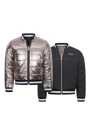 Girls Black/Gold Reversible Padded Jacket