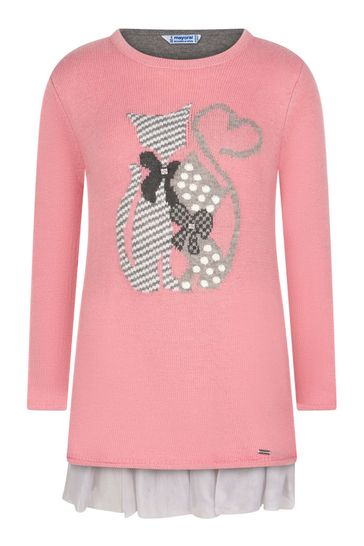 Girls Pink Knitted 2-In-1 Cat Dress