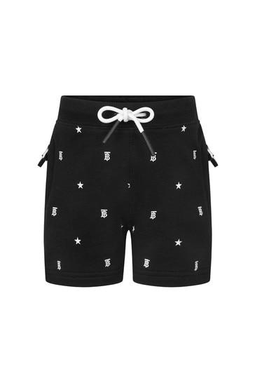 Baby Girls Black Cotton Shorts