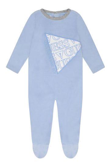 Boys Pale Blue Velour Babygrow