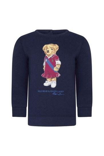 아기 소녀 해군 면 스웨트 탑