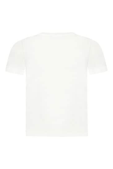 보이즈 화이트 코튼 티셔츠