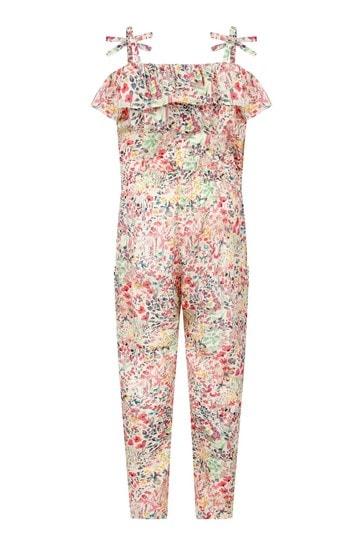 Girls Pink Cotton Jumpsuit