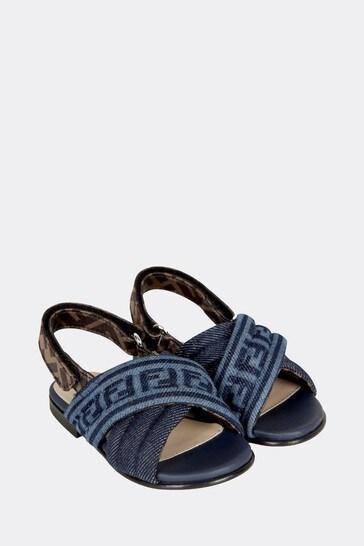 Girls Blue Cotton Sandals