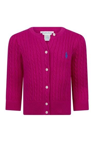 Baby Girls Pink Cotton Cardigan