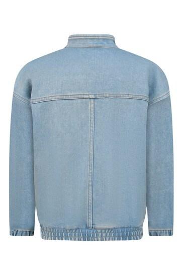 Girls Blue Denim Bomber Jacket