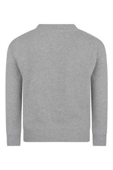 Girls Grey Cotton Logo Sweater