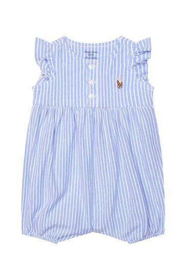 Baby Girls Blue Cotton Romper