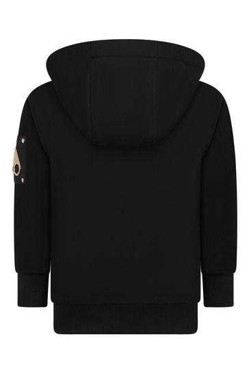 Girls Black Cotton Zip Up Top