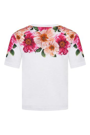 Dolce & Gabbana Girls Pink Cotton T-Shirt