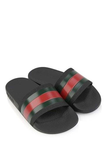 Black Signature Stripe Sliders