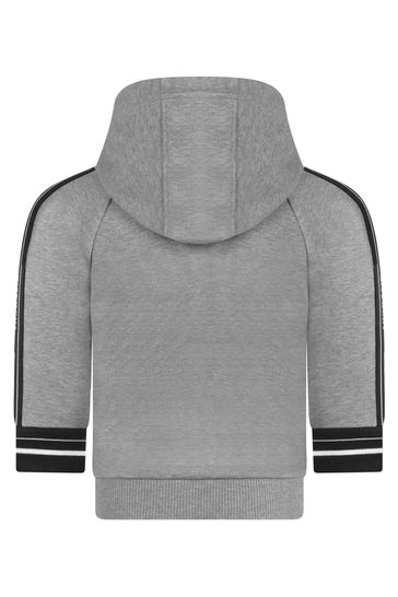 Baby Boys Grey Logo Trim Zip-Up Top