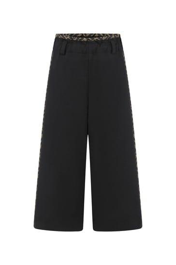 Girls Black Wide Leg Logo Trousers
