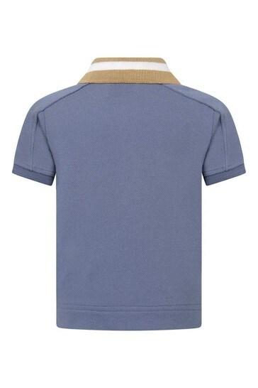 Burberry Boys Blue Cotton Polo Top